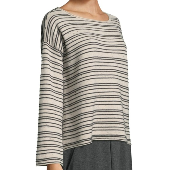 56c36d895f Eileen Fisher Organic Cotton Wool Striped Sweater. NWT